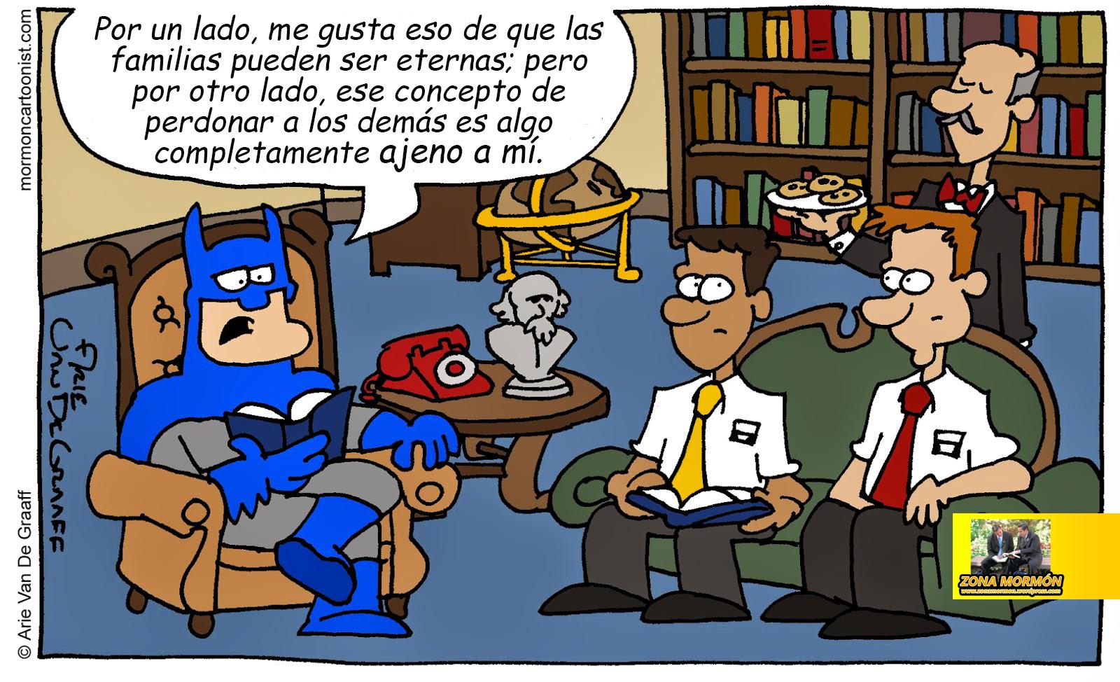 Humor con el dibujante Mormn 5 Batman escuchando a los